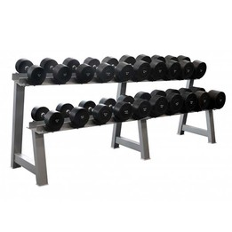 10kg - 40kg Round Rubber Dumbbell Set with Rack